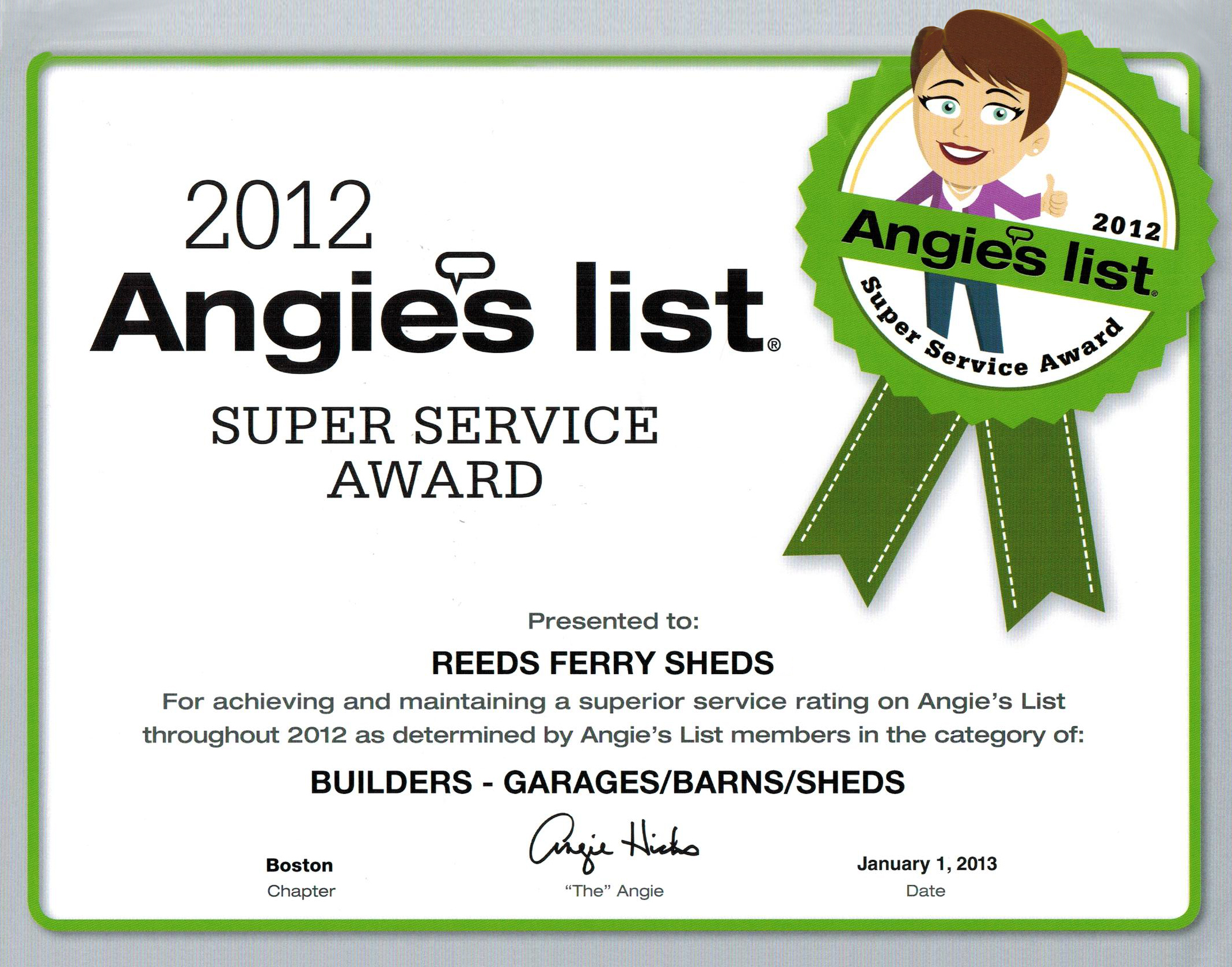 Reeds Ferry Angie's List 2012