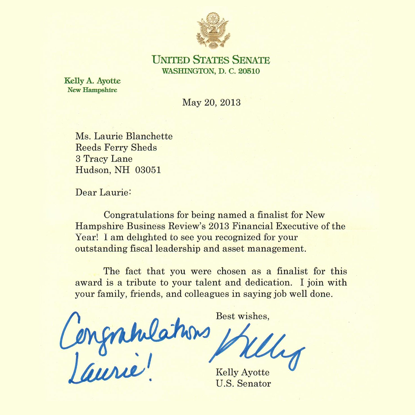 Letter from Senator Ayotte