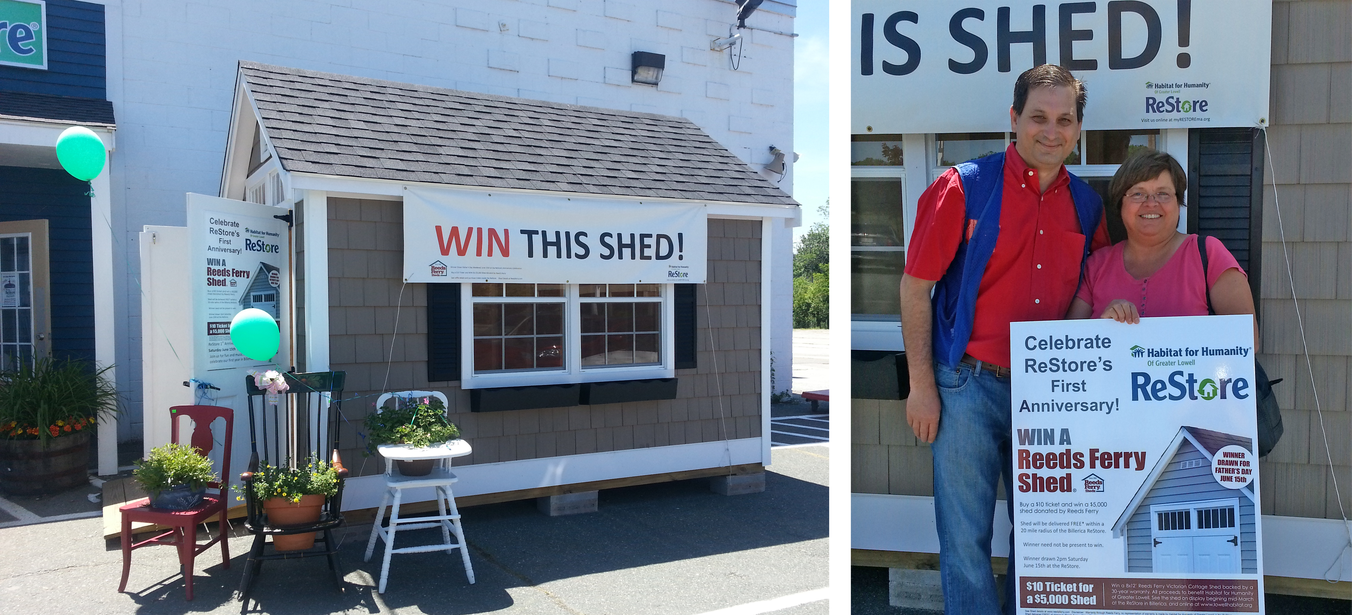 Congratulations to Maggie O'Donnell of Chelmsford, awarded the grand prize by Dan Bush of Habitat for Humanity of Greater Lowell. Ms O'Donnell is the proud owner of a Reeds Ferry 8x12' Victorian Cottage. (which she can visit at her son's house ;)